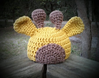 Custom made giraffe hat photo prop in all sizes from newborn to adult