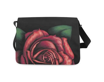 Red rose on Messenger bag - pink and red paint on black bag - digital painting printed on red and black - Limited Edition Messenger bag