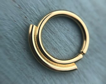 READY TO SHIP! Simplicity Septum Ring - Solid 18ct Gold - 18k Gold Daith Rook Helix Piercing