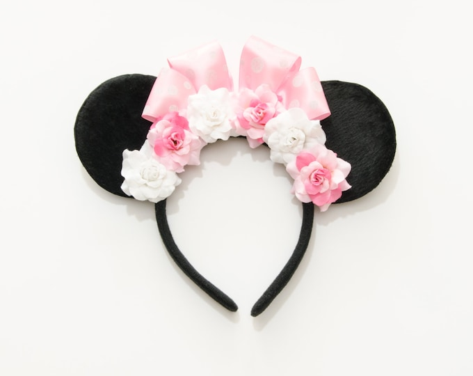 Pink White Mouse Ears Headband