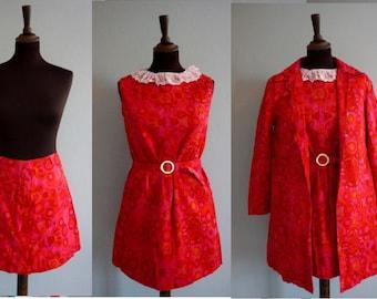 1960s MOD 3-Piece Set / Vintage MOD Dress, Jacket and Skirt