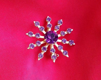 Purple Plum Rhinestone Starburst Brooch