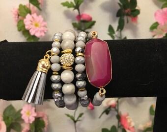 Maroon gemstone tassel bracelet set