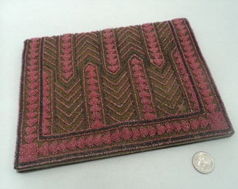 Vintage pink geometric beaded clutch -from Morocco?