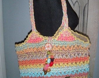 Vintage Cappelli ~ Toyo Colorful woven Straw Shoulder bag ~ BOHO ~ BEADED