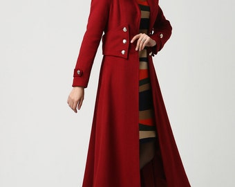 Wool coat with hood, wool coat, red coat, winter Coat, Military coat, long coat, warm winter coat, wool coat women, military coat (1107)