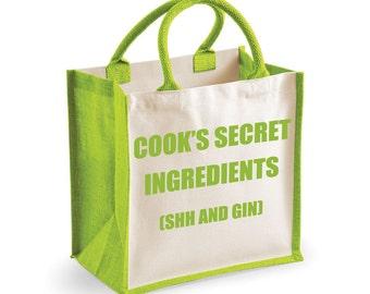 Gin Bag Shopping Bag Cook's Secret Ingredients (Shh and Gin) Medium Jute Bag Reusable Black Shopper