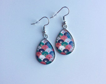 Earrings drops blossoms red black green white cabochons