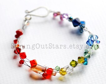 Over the Rainbow - Swarovski crystal and recycled guitar string bracelet by Strung-Out