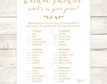 bridal shower game what's in your purse printable white gold glitter wedding shower digital games - INSTANT DOWNLOAD