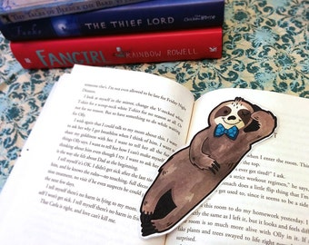 Sloth Bookmark - reading laminated animal book mark sloth bowtie fancy shape