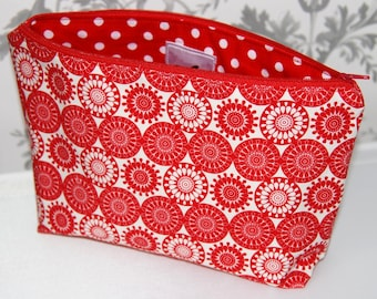 Large Red Cosmetic Bags, Large Red Makeup Bags, Large Cosmetic Bags, Large Makeup Bags, Gifts for Her, Large Cosmetic Bag, Large Makeup Bag