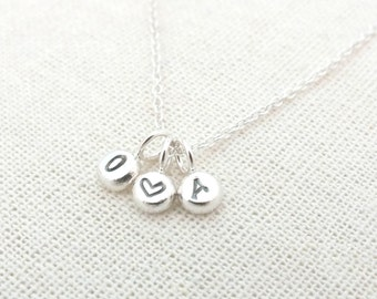 Silver Initial Necklace, Custom Silver Necklace, Sterling Silver Letter Necklace, Monogram Necklace, Personalised Hand-Stamped Necklace