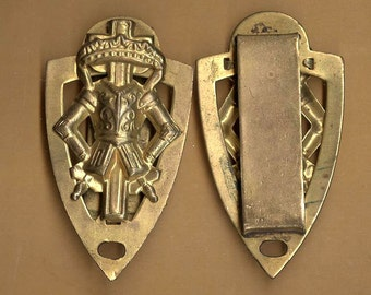 vintage oddfellows SHIELD shape connector patinaed brass fancy aged ODDFELLOWS components ox you get TWO circa late 1800s