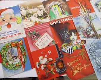 Vintage Greeting Card Lot-Ephemera-Mixed Media-Paper-Crafts-Scrap Booking-Baby-Childrens-Christmas-Set of 16-UNUSED