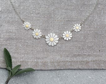 Daisy chain necklace in solid sterling silver and 18ct gold, Silver daisy necklace, Daisy jewelry, Floral necklace, Floral jewelry,