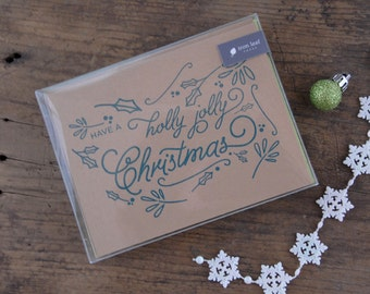 Have a Holly Jolly Christmas Letterpress Greeting Card - Set of 6