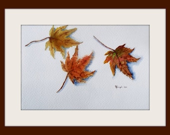 Original Painting - Watercolour - Autumn leaves - Size 16x34 cm