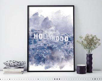 Hollywood Sign Watercolour Print Wall Art | 4x6 5x7 A4 A3 A2