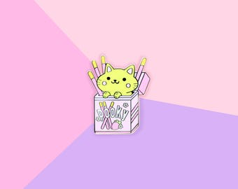 Pocky Strawberry Foodie Cat - Hard Enamel Gold Lapel Pin Kawaii Cats