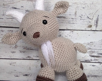 George the Goat, Crochet Billy Goat, Stuffed Animal, Goat Amigurumi, Plush Animal, MADE TO ORDER