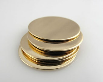 3/4Inch 6Pack Gold Filled Discs 22 Gauge Hand Stamping Supplies Blank Finished Smooth Engraving Tag Jewelry Making QTY 6