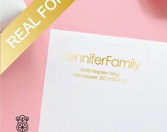 15PCS Gold Foil Return Address Labels / Gold Foil label / Bridal address labels / Self-Adhesive Label / Wedding Labels (GRL011)