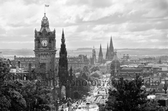 Edinburgh black and white photography skyline scotland