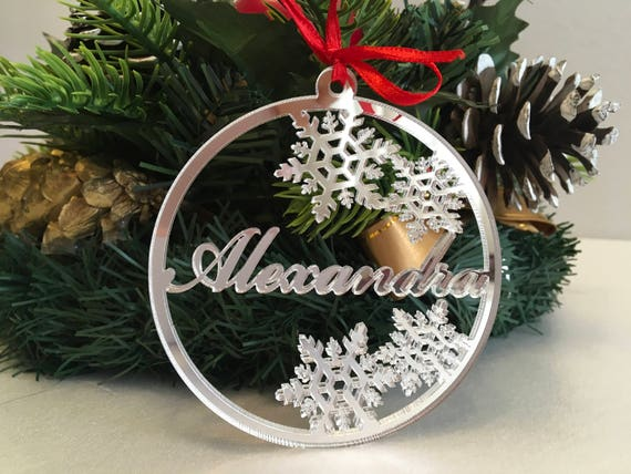 Christmas ornaments Personalised Christmas Name Baubles Silver Handmade Xmas Decorations Custom Snowflakes Name Tree decorations Xmas gifts