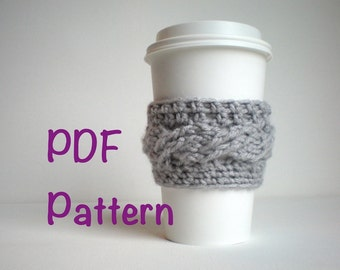 PATTERN- To Go Cup Cozy, cabled crochet, email PDF, InStAnT DoWnLoAd, Starbucks Teacher Gift, Stocking Stuffer, Permission to Sell