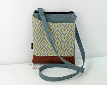 ZOE Messenger Cross Body Sling Bag - On Point Blue and PU Leather READY to SHIp  Ipad bag