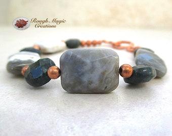 Green & Gray Gemstone Bracelet, Multicolor Ocean Jasper, Dark Green Moss Agate, Faceted Stones, Copper Beads, Gift for Women B137