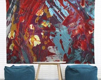 Comic Book Hero Hanging Wall Tapestry. Dorm Decor, Abstract Painting, Modern Art, Paint Splatter Tapestry, Headboard Tapestry, Art Studio