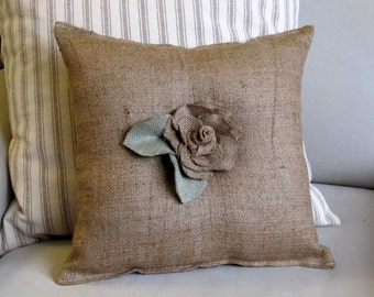 14 inch square burlap center ROSE with leaves