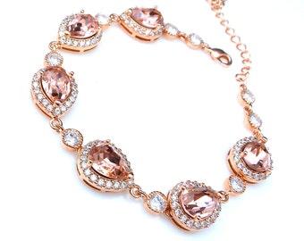 bridal bracelet wedding jewelry bridesmaid gift prom party pageant rose gold teardrop pear swarovski vintage rose blush fancy rhinestone