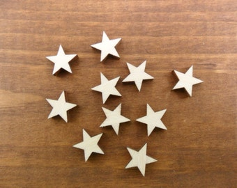 "Wood Stars 1"" Laser Cut Wood Star Stud Earring Shapes - 50 Pieces"