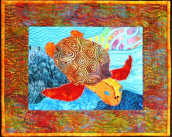 Golden Honu Art Quilt