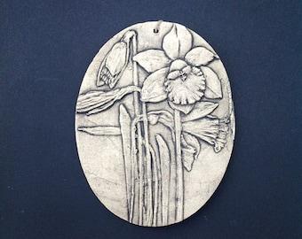 Daffodil Ceramic Pottery Flower Garden Relief Sculpture Tile