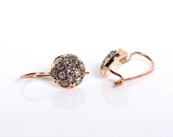 Round Diamond Earrings - Pave Earrings - 14K Rose Gold Earrings - Rose Cut Diamond Earrings - Small Earrings - Bridal Earrings - Wedding