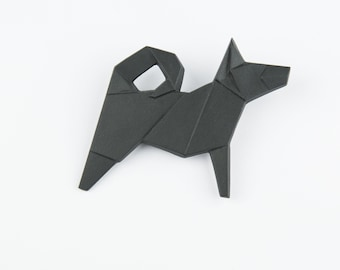 PORCELAIN  BROOCH DOG/Black porcelain/Porcelain origami/Origami pin/Origami brooch/Porcelain pin/Japaneese origami/Porcelain dog
