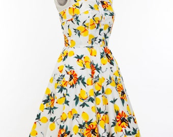 Pin Up Dress Lemon Dress Sun Dress Summer Dress Vintage Swing Dress Party Dress Holiday Dress 50s Dress Rockabilly Dress Plus Size Dress
