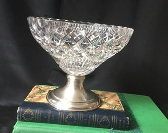 """Antique Hawkes Cut Crystal Small Compote Bowl Sterling Silver Base 28 PWTS 5"""" Tall x 5"""" Diameter on Top Antique Hawkes Cut Crystal Sterling"""