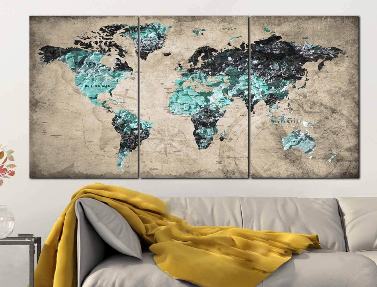 Textured World MapTextured Map ArtWorld Map Wall ArtWorld Map - Old world map wall art in blue