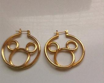 Mickey Mouse hoop gold tone earrings