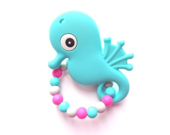 Seahorse Teething Toy, Silicone Teething Toy, Teething Ring, Wood Ring, Baby Teether, Non Toxic Baby Toy, Baby Shower Gift, Baby Girl Gift