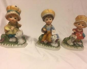 Vintage homco ceramic figurines three children with pets