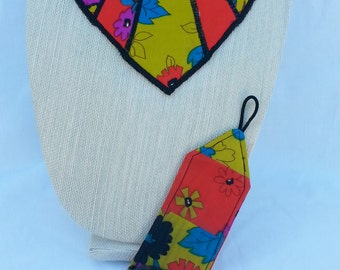 Reversible Fabric Bib Necklace with matching Cuff bracelet- Nonnie's Print
