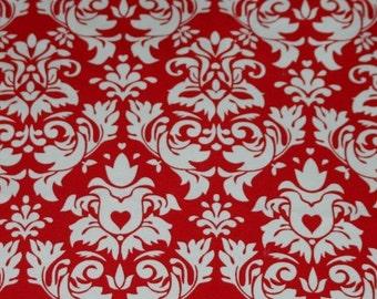 Knit Damask Red Fabric 1 yard