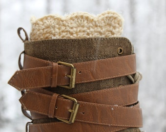 Cream crochet boot cuff