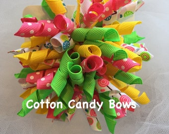 Lollipop Kids Set of Large Korker Bows, Hair Bows, Hair Accessories, Baby, Toddler, Girls, Spring, Summer, Pink, Green, Yellow, White